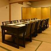 接待はもちろん、少人数の会食にぴったりの個室を完備