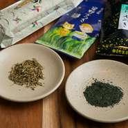 """""""食べても美味しい茶葉""""を探して見つけた、福岡県八女市産の素晴らしい茶葉。香りの良さはもとより、旨みが強く、乳酸発酵によって酸味が生まれ、さらに美味に。季節に応じて煎茶や焙じ茶を使い分けるこだわり。"""