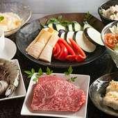 好みの神戸牛の部位を選んでステーキに!『樹々コース』