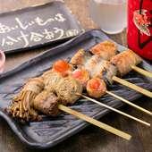 新鮮な地元産野菜の、素材のおいしさを満喫『野菜の豚巻き串』