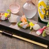 日本酒とも相性抜群。呉から届いた鮮魚に舌鼓『おつくり盛り合わせ』