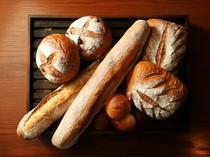 天然酵母を使用したバゲットなど、毎日焼き上げるパンも魅力