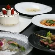 6品程を用意する『アニバーサリープラン』、メニュー構成は季節によって変動しますが、いずれも最後にホールケーキがついてきます。メッセージ入りのケーキは、スタッフの演出と共に登場。記念日を素敵に彩ります。