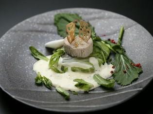 冬野菜に舌鼓『平目の白菜包み蒸し 丸葉春菊の白ワインソース』