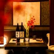 2人でゆっくりお食事を楽しんで頂けるお席もございます。