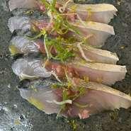 師崎産の鮮魚がカルパッチョになります。ソースも魚に合わせてシェフがその都度変えています。