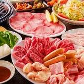 品質自慢のお肉11種にを中心を楽しめるコースです。+1500円から飲み放題&ごはん食べ放題の追加も可能