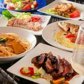 マルコポーロの人気料理や季節の逸品を量感たっぷりに楽しめるコースです。+1500円で飲み放題追加可能。