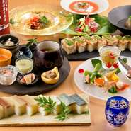 """素朴ながらも丁寧な仕事を感じる、上質な日本料理でおもてなし。春夏秋冬の季節感ある""""旬食材""""そのものの滋味を堪能する、上品な味わいを楽しめます。素材同士の掛け合わせで生まれる新しい味わいにも出合えます。"""