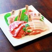 ムーカタ鍋用のブランド県産豚「琉美豚」5種盛り合わせです。 ・ロース ・バラ ・モモ ・肩ロース ・ウデ