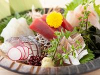 一人前からオーダー可能。4~5種類の魚介を味わう『刺身盛り合わせ』
