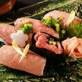 口いっぱいに広がる旨味に心奪われる『飛騨牛 寿司 五種盛り』