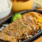 特製マスタードソースは牛かつと相性抜群『鉄板牛かつ定食』