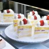 毎朝店内で作る定番のデザート『いちごショートケーキ』