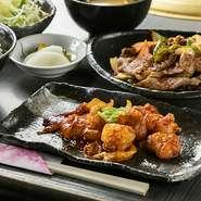 焼肉定食に加え、「タン」または「ホルモン」を選べます(各70g)。鰹と利尻昆布の出汁をきかせた味噌汁、広島県産の米を使ったご飯付きです。ランチタイムはご飯がおかわりできるのもうれしいところ。