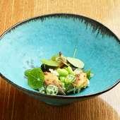 自然と酒がすすむ至極の酒肴『鮎と肝 茶豆 胡瓜 茄子のペースト』