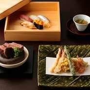 天ぷら・寿司の専門カウンターを備えているため、職人達のつくり上げる逸品を日本料理と共に堪能できます。各々の技術が集結した至高のコース。おもてなしや特別の日に喜ばれるプランです。