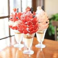 【6月~9月末頃:期間限定】オーナーシェフが惚れ込んだ奈良の大和氷室・日之出製氷の純氷を使用。夏のフルーツがふんだんに載せられています。中でも「メロン」「生桃みるく」は特に人気メニューとなっています。