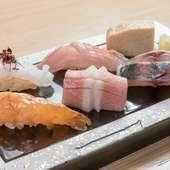 旬の鮮魚を堪能できる『お任せ江戸前鮨握り<五貫>』