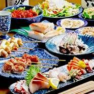 梅田駅徒歩2分!梅田エリアでの宴会は肉と鮮魚・お酒が美味しい『吟助』のコースをご利用ください!旬魚の季節料理や地鶏など名物メニューもコースに登場。3,000円(税抜)~お楽しみいただけます。