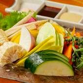 季節野菜をもぎたての味そのまま楽しめる『名物野菜刺身盛合せ』