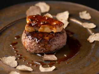 厳選和牛のソーズベリーステーキとフォアグラロッシーニスタイル