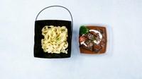 """やわらかく煮込み上げた牛タンと自家製のデミグラスソースを平麺タイプのパスタ・タリアテッレと共にお楽しみ下さい。※当店は京都祇園・八代目儀兵衛のお米""""翁霞""""を全て使用しております。"""