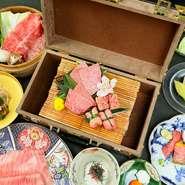 【Best of Kobe Beef】日本が誇る和牛のトップブランド「神戸牛」と、A5ランクの黒毛和牛の雌牛が味わえる一番贅沢なコースです。接待や会食、記念日など特別な日のお食事に最適なコースとなっています。