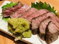 静岡のブランド肉、「静岡そだち」のミニステーキ。 モモ肉の希少部位、芯しんを弱火で焼き上げ、特製の本山葵おろしをタップリと付ければ美味しさ倍増!!!