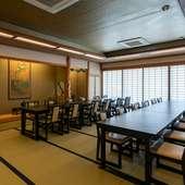 テーブル席や掘りごたつタイプの、幅広い人数に対応できる座敷席