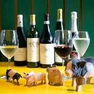 イタリアワインが各種取り揃えられています。肉料理に合うワインを厳選して仕入れ。ワインを選ぶ段階から楽しんでもらうよう、あえてゲストに対して銘柄選びなどはしていません。