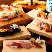 旬の寿司と料理に合うお酒が充実し、季節限定の日本酒が味わえる