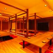 人数に応じたスペースを用意し、最大60名までの団体宴会が可能