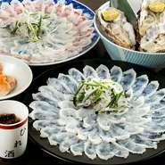 ふぐ料理の達人が繰り出す多彩な料理が大評判。下関直送の天然とらふぐ、九州産すっぽん、夏季の鱧をはじめとする高級魚介料理をコース・アラカルトで提供。味・もてなし・価格ともに納得&大満足の一軒です。