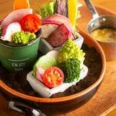 自社農園の野菜も食せる『鉄板焼き屋のバーニャカウダ』