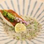 鯛の骨だけからつくった濃厚白濁ソースの『鯛の塩焼きパイタンソース仕立て』