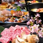 神戸牛や鮮魚のにぎり寿司、本格的な一品料理を楽しめるコース料理です。