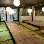 2階の座敷は掘りごたつ式の広間。大人数の宴会も可能です