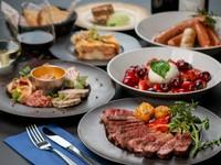 国産黒毛和牛霜降りと赤身を存分愉しむ構成 旬の有機野菜もふんだん、肉と野菜+αのお料理を堪能するコース
