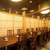 シンプルな個室スペースは客数に応じて広さの調節が可能