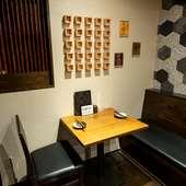 個室として利用することができるテーブル席