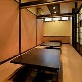 個室空間にもなる小上がりでは、最大16名様までの宴会が可能