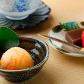 手づくりデザート2品の一例『紅茶の外郎』と『みかんとヨーグルトのシャーベット』