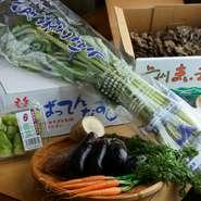 毎日豊洲へ通い、群馬県黒保根町の舞茸、熊本の「ばってんなす」、大阪の「八尾若ごぼう」など、季節ごとに珍しい野菜を厳選。このほか、川上氏のお母様が水戸の畑で愛情込めて育てた新鮮な野菜も毎週届きます。