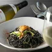 素材の味わいが満喫できる『雲丹と九条ネギのペペロンチーノ スパゲッティーニ ネロ』