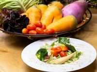 大地の恵みをたっぷりいただく『東広島市産の有機・無農薬野菜のシーザーサラダ』