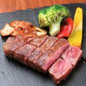 地産の醤油や藻塩で味わう『広島牛のサーロインステーキ』