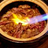 バーナーで香ばしく仕上がった絶品『元祖焦がしタレ肉土鍋2~3人前』