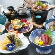 地元の新鮮な魚や野菜を使用。食事として満足度の高い法事用の会席コース『蓮』