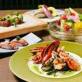高級食材を鉄板焼で堪能できる『<季節限定>OSAFUNEコース』(2日前までに要予約)